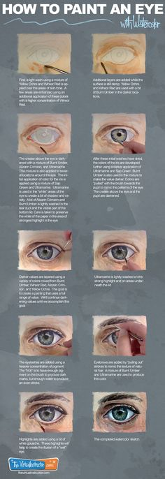 The Secrets Of Drawing Realistic Pencil Portraits - How to Paint an Eye with Watercolor Infographic Secrets Of Drawing Realistic Pencil Portraits - Discover The Secrets Of Drawing Realistic Pencil Portraits Eye Painting, Painting People, Painting Tips, Acrylic Paintings, Watercolour Paintings, Paintings Of Eyes, Watercolour On Canvas, Oil Painting Tutorials, Painting With Watercolors
