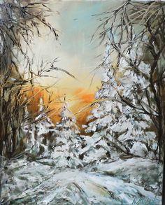 Winter road 40x50 by SztuknijSie on Etsy