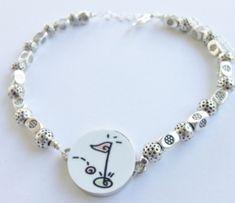 One Putt Designs Par 3 Golf Ball Marker Ankle Bracelets - Golf Balls & Flag