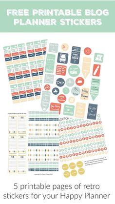 free printable blog planner happy planner retro stickers