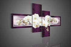 4 Piece Wall Art No Framed Modern Abstract Acrylic Flower Purple Orchid Picture Oil Painting On Canvas For Home Decor picture-in Painting & ...