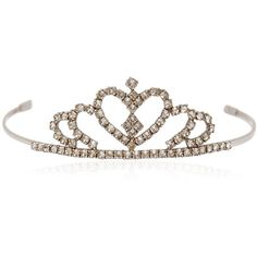 SAINT LAURENT Heart Crystal Tiara (26,700 MXN) ❤ liked on Polyvore featuring accessories, hair accessories, crystal, crystal tiara, yves saint laurent and crystal hair accessories
