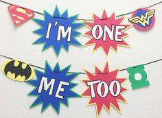 First Birthday Banner Super Hero Decorations by LetsGetDecorative