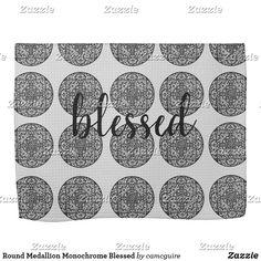 Shop Round Medallion Monochrome Blessed Kitchen Towel created by camcguire. Customizable Gifts, Kitchen Towels, Monochrome, Mandala, Blessed, Art Deco, Vibrant, Kids Rugs, Black And White