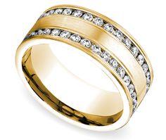 Channel Diamond Men's Wedding Ring in Yellow Gold