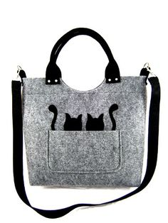 FELT BAG / in hand/ in shoulder / three colors, gray, red melange, orange melange, black cats