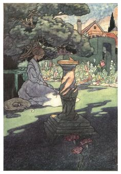 'The Sundial.' Charles Robinson illustration scanned from my own copy of 'The Four Gardens' (1912).