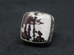 Large Jasper Cow Print Design Silver Plated 925 Ring - Size 7.5 - Needs Cleaning #VintageDesign