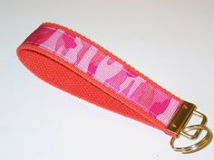 Love the pink camo on this one...Keychain Wristlet Key Fob  Orange & Pink Camouflage by Bagalicious, $10.00, http://bagalicious.etsy.com