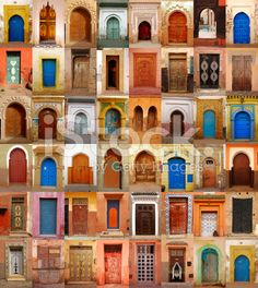 Colorful Moroccan doors royalty-free stock photo