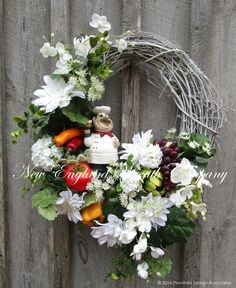 Italian Chef Floral Wreath. A lush bounty of fruits and vegetables are nestled…