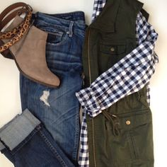 Olive Green Military Vest. Navy Gingham, Lucky Booties & Animal Print