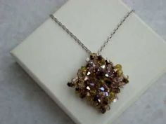 ▶ Swarovski Crystallized square pendant with bicones - YouTube