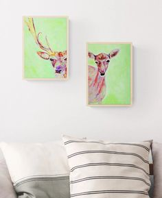 Green and red acrylic deer and stag paintings on modern box canvasses that look great on your wall as they are or with optional light wood frames. Painted for your modern home decor by Caroline Skinner Art in her UK studio. Click for more details. #doe #deerart #staglover Wildlife Paintings, Animal Paintings, Deer Paintings, Deer Art, Green Home Decor, British Wildlife, Red Deer, Artwork Online, Green Backgrounds