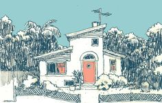 """Some time ago a strange internet presence """"Johnny Rocketfingers"""" made itself known to me demanding I draw it a house. Not too eager to upset the collective conscious of the Interwebs I complied, I sketched up this small villa in a sorta-functionalist style with some post-modern tendencies. A house like this could be in an LA suburb or in Spain. Take good care of it, """"Johhny Rocketfingers"""", I hope you like it alright."""