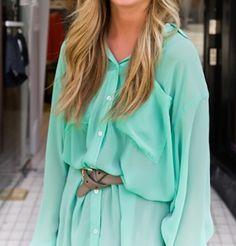 mint button-up dress
