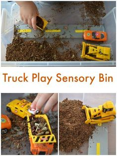 Truck Play: Easy Sensory Bin using Tea Leaves. Small world and pretend play for toddlers and preschoolers