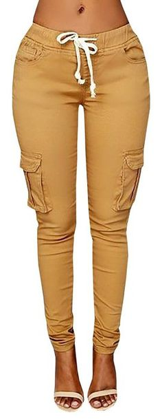 Ybenlow Women's Solid Stretch Drawstring Casual Skinny Pants