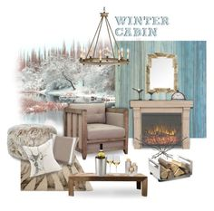 """""""Winter Cabin by the Lake"""" by valeria-mezhevikina ❤ liked on Polyvore featuring interior, interiors, interior design, home, home decor, interior decorating, WALL, Homestar, 3R Studios and Arteriors"""