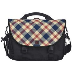 Red and blue tartan pattern design commuter bags