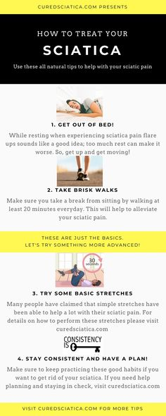 Here are some quick tips to help with your sciatic pain. These will help to relieve your pain but you should use them along with a solid s. Treating Sciatica, Sciatica Stretches, Sciatica Symptoms, Sciatica Pain Relief, Sciatic Pain, Headache Relief, Chronic Sciatica, Sciatica Massage