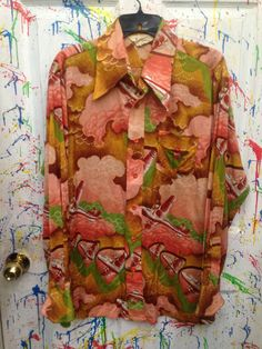 Men's Vintage polyester pimp disco shirt size XL XLarge Retro Psychedelic Airplane Motif 1970s $25.00 by RagsAGoGo