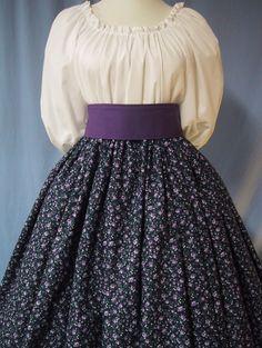 Pioneer Long Skirt - Colonial, Frontier, Victorian, Civil War Reenactment Costume - Purple Floral on Navy Cotton Print - Handmade