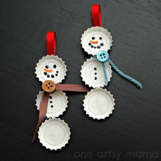 45 DIY Creative And Easy Christmas Tree Ornaments. Three bottle caps can make a cute snowman ornament. Glue them to a piece of ribbon, paint eyes, nose and a mouth and use ribbon or yarn to make a scarf for each snowman