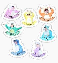 'BTS Sticker Set Kigurumi - Check Description ' Sticker by momojaya Pop Stickers, Tumblr Stickers, Printable Stickers, Bts Chibi, Bts Kawaii, Theme Bts, V Wings, Bts School, Kpop Diy