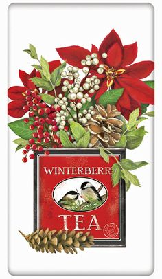 Christmas Poinsettia Tea Cannister 100% Cotton Flour Sack Dish Towel Tea Towel