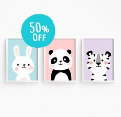 50% OFF Nursery Art Set of 3 Baby Animals : Bunny Panda Tiger