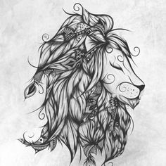 Poetic Lion B&W Art Print by LouJah