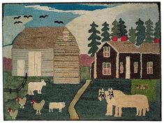 Hooked Rug, Extraordinary farm scene. New York state origin, circa 1900-1920. 29-1/2 x 39-1/2 inches