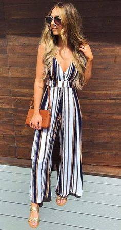 striped jumpsuit-Morning summer outfit ideas – Just Trendy Girls - striped dress summer outfits summer dress outfit blue summer dress outfit blue summer dress outfit outfits baby blue dress - blue dress outfit - Summer Blue Dresses 2019 Trendy Dresses, Trendy Outfits, Trendy Fashion, Fashion Outfits, Summer Dresses, Fashion Ideas, Fashion Spring, Moda Outfits, Womens Fashion
