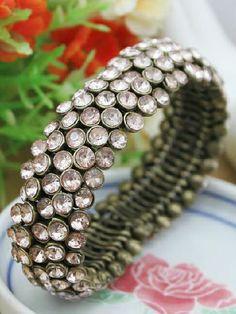 Silver Crystal Fence Bracelet