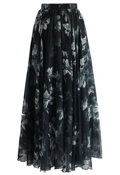 Blooming in Dark Frilling Maxi Skirt - Skirt - Bottoms - Retro, Indie and Unique Fashion