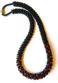 Kumihimo Beaded Necklace Kit, Kumihimo Holiday Necklace Kit, Kumihimo Project Kit, Kumihimo Black & Red Necklace Kit, Karen Huntoon | What a Braid