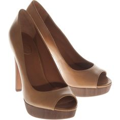 Ash Fever Natural Peep Toe Leather Pumps ($260) ❤ liked on Polyvore
