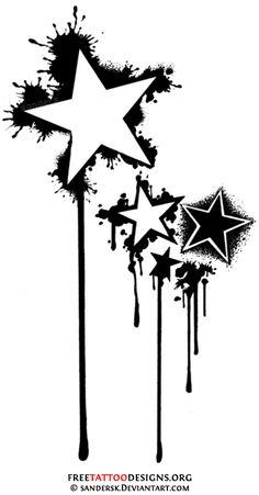Stars tattoo design (black and white)
