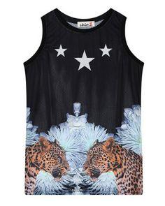 1127d9910973a Wild leoaprd 3D tank top for girls black sleeveless t shirt Tank Tops