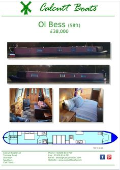 1999 58-ft Heron Hull With Heron and owner fit out powered by a Lister Petter LPW4 engine and a PRM gearbox. Accommodation:-As you enter through the engine room you come into a bedroom which has a cross over bed and lots of cupboard space, the bathroom has a cassette toilet shower and sink, dinette that converts into a guest birth, galley has a gas hob and oven sink and cupboard space, Open plan saloon has a free standing sofa bed and mutil fuel stove for heating. Boat safety until March… Canal Boat Holidays, Boat Safety, Boats For Sale, Heating Systems, Heron, Open Plan, Sofa Bed, Cupboard, Stove