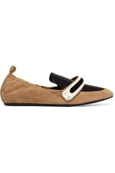 Lanvin - Suede And Leather Slippers - Sand - IT37.5