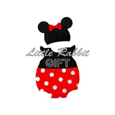 Baby Girls Mini Mouse Set, Baby Set, Baby Onesie, Baby Romper, Baby Bodysuit, Baby Costume, Baby Girls Clothing + Cap