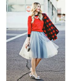 @Who What Wear - Caitlin of A Little Dash Of Darling  Play up the skirt's girlish roots with ultra-feminine details, such as a statement necklace and bow-bedecked heels.   On Caitlin: Alexandra Grecco skirt; J.Crew sweater and necklace; Kate Spade heels.
