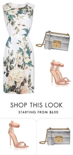 """Floral Printed Elegant Sleeveless Scoop Neck Cocktail Party Midi Dress"" by nanayau on Polyvore featuring Gianvito Rossi and Gucci"