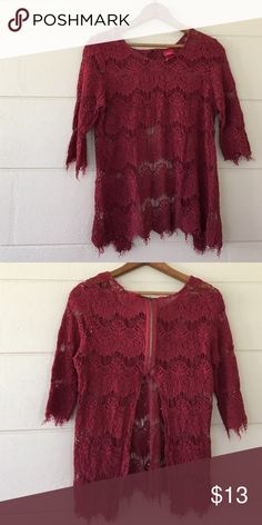 3/4 sleeve Maroon 3/4 sleeve blouse with half zip half open back day trip brand size large would fit a medium also 66% cotton 34% rayon Daytrip Tops Blouses