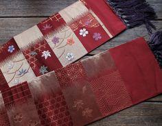 Obi, Vintage Silk Obi, HanHaba Obi Belt, Reversible Obi, Rare Fringed Obi, Half Width Obi, Japanese Silk Obi, Free Registered Air Shipping by KominkaFabricsJapan on Etsy
