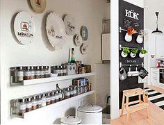Selecionei agora fotos de detalhes em cozinhas que não precisam de muito espaço, são baratos para fazer, muitos por vc mesmo (a) e acrescentam graça à cozinha, além da maioria ser funcional. Espero que vc consiga aproveitar algumas ideia para a sua cozinha...
