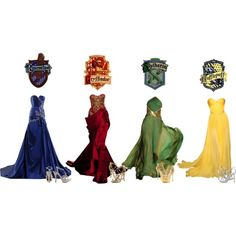 """Hogwarts Houses's Yule Ball Gowns"" by music-is-life-and-feeling on Polyvore. Whenever I see green and gold, ya know what I immediately think of? Not Slytherin..."