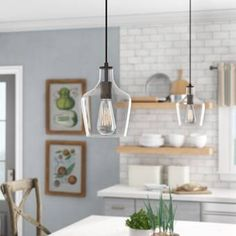 101 Luxurious Kitchen Design With Pendant Light Ideas - Pendant lights, drops, or suspenders, whatever you call them, the looks and purpose remain unchanged. They all refer to the hanging lights that instan. Farmhouse Pendant Lighting, Kitchen Lighting Fixtures, Kitchen Pendant Lighting, Kitchen Pendants, Modern Pendant Light, Island Pendants, Over Island Pendant Lights, Kitchen Lights Over Island, Diy Kitchen